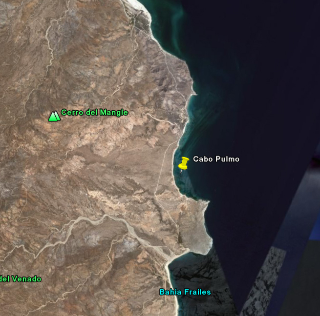 As seen in this satellite view, Cabo Pulmo is situated in a beautiful bay in the Sea of Cortez